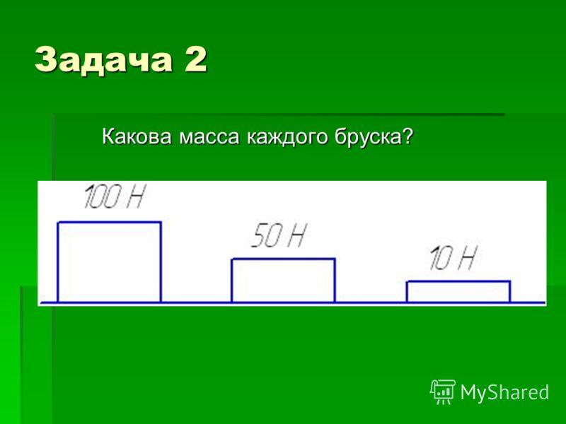 Задача 2 Какова масса каждого бруска?