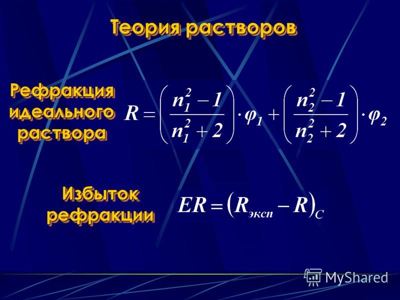 Теория растворов Рефракция идеального раствора Избыток рефракции