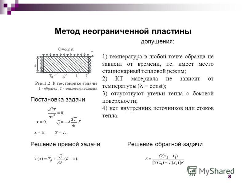 8 Метод неограниченной пластины допущения: 1) температура в любой точке образца не зависит от времени, т.е. имеет место стационарный тепловой режим; 2) КТ материала не зависит от температуры ( = const); 3) отсутствуют утечки тепла с боковой поверхнос