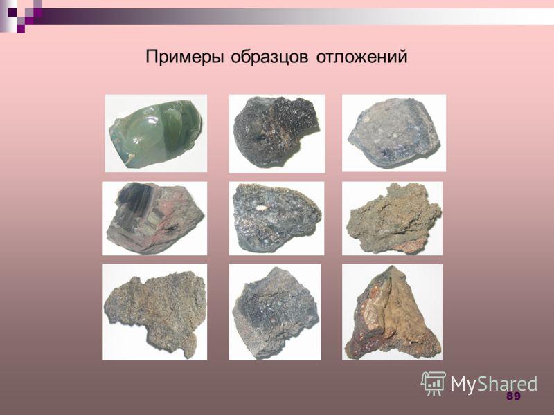 89 Примеры образцов отложений