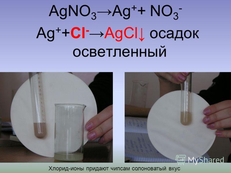 AgNO 3Ag + + NO 3 - Ag + +Cl -AgCl осадок осветленный Хлорид-ионы придают чипсам солоноватый вкус