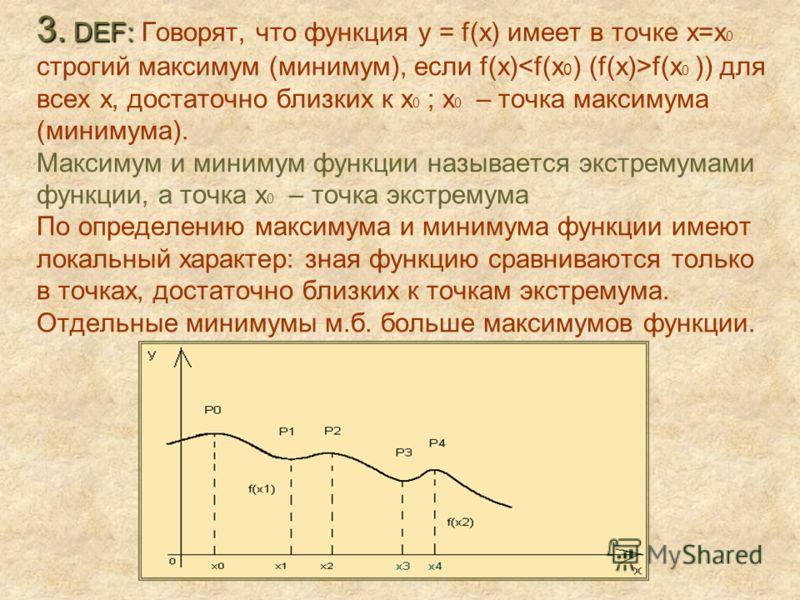 3. DEF: 3. DEF: Говорят, что функция y = f(x) имеет в точке х=х 0 строгий максимум (минимум), если f(x) f(x 0 )) для всех х, достаточно близких к х 0 ; х 0 – точка максимума (минимума). Максимум и минимум функции называется экстремумами функции, а то