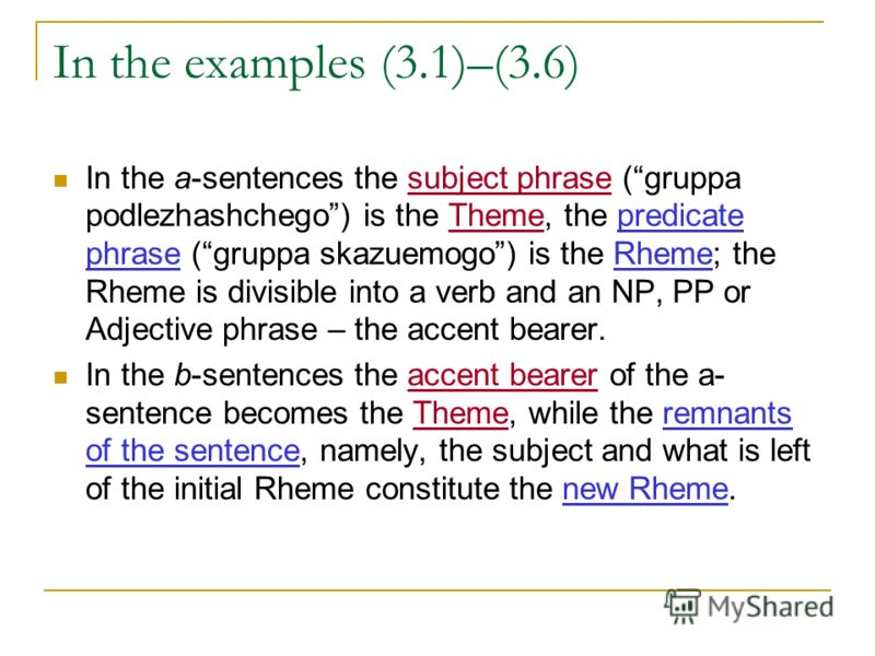 In the examples (3.1)–(3.6) In the a-sentences the subject phrase (gruppa podlezhashchego) is the Theme, the predicate phrase (gruppa skazuemogo) is the Rheme; the Rheme is divisible into a verb and an NP, PP or Adjective phrase – the accent bearer.