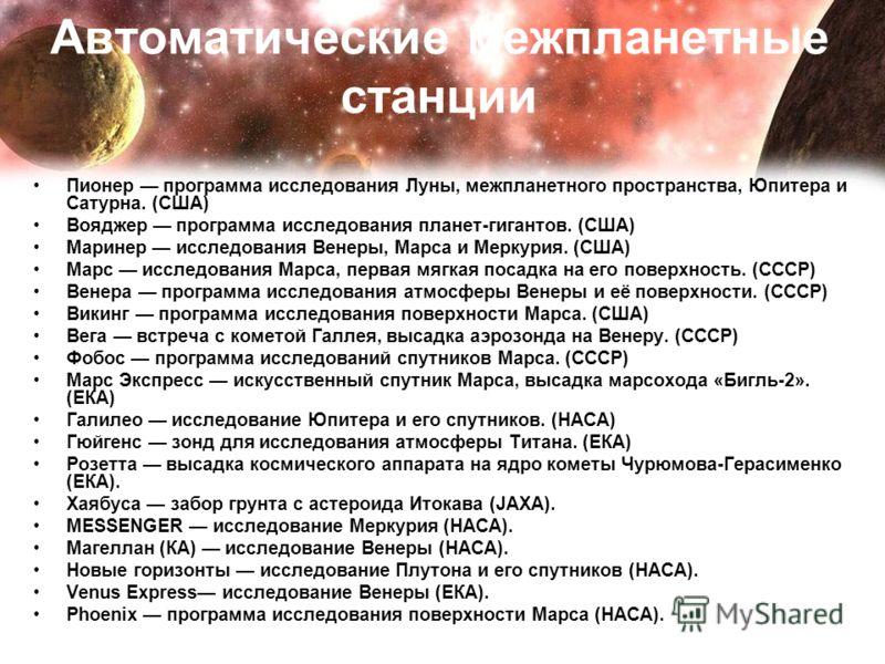 Автоматические межпланетные станции Пионер программа исследования Луны, межпланетного пространства, Юпитера и Сатурна. (США) Вояджер программа исследования планет-гигантов. (США) Маринер исследования Венеры, Марса и Меркурия. (США) Марс исследования