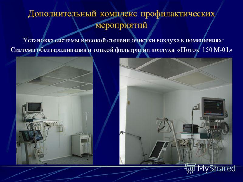 Дополнительный комплекс профилактических мероприятий Установка системы высокой степени очистки воздуха в помещениях: Система обеззараживания и тонкой фильтрации воздуха «Поток 150 М-01»