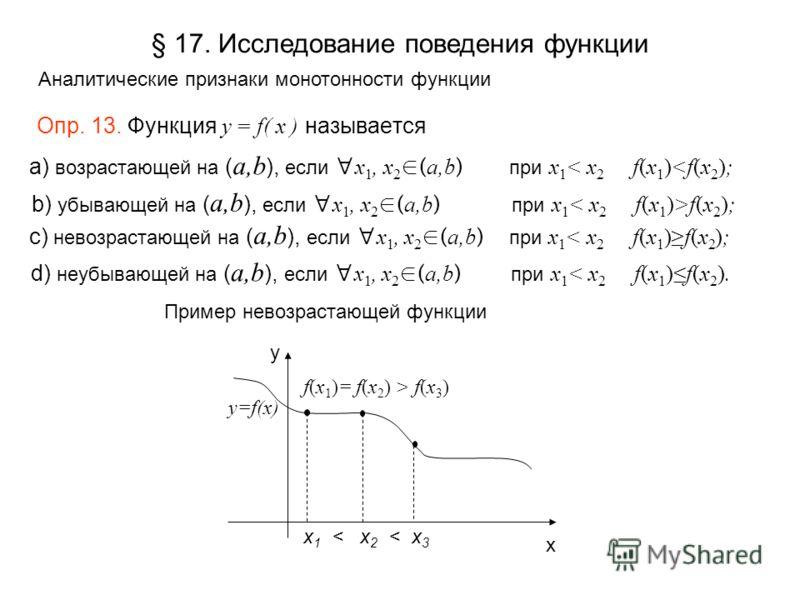 Опр. 13. Функция y = f( x ) называется Пример невозрастающей функции x 1 < x 2 < x 3 f(x 1 )= f(x 2 ) > f(x 3 ) x y y=f(x) § 17. Исследование поведения функции Аналитические признаки монотонности функции а) возрастающей на ( a,b ), если x 1, x 2 ( a,