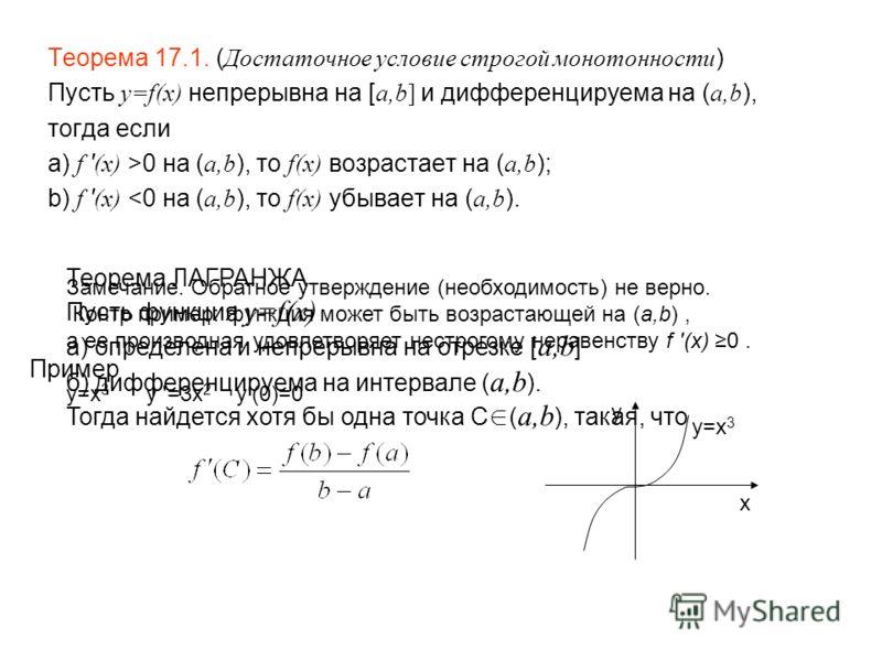 Теорема 17.1. ( Достаточное условие строгой монотонности ) Пусть y=f(x) непрерывна на [ a,b] и дифференцируема на ( a,b ), тогда если а) f ' (x) >0 на ( a,b ), то f(x) возрастает на ( a,b ); b) f ' (x)