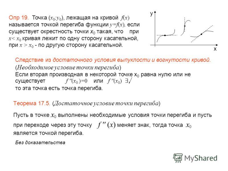 Теорема 17.5. ( Достаточное условие точки перегиба ) Пусть в точке x 0 выполнены необходимые условия точки перегиба и пусть при переходе через эту точку f '' (x) меняет знак, тогда точка x 0 является точкой перегиба. Опр 19. Точка ( x 0 ;y 0 ), лежащ