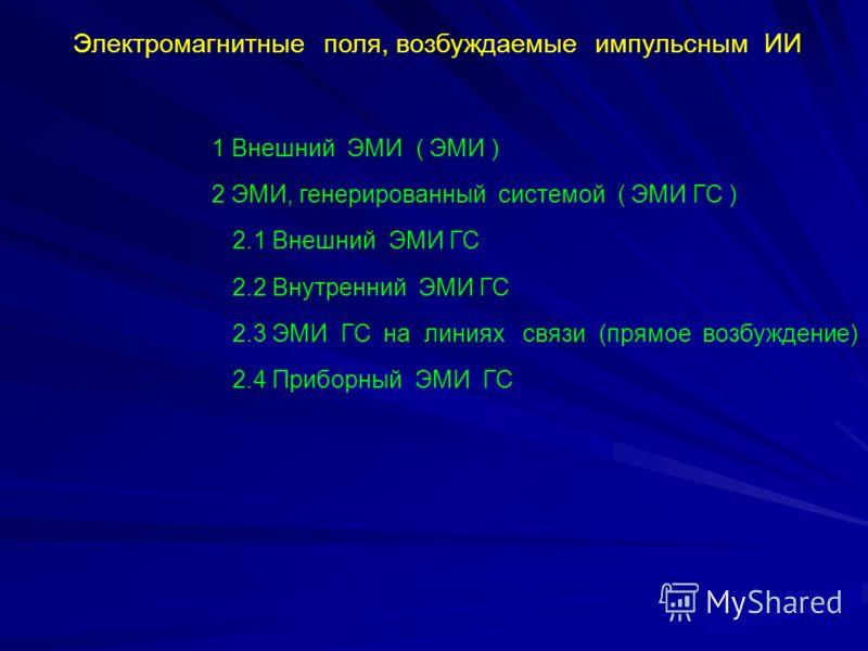 Электромагнитные поля, возбуждаемые импульсным ИИ 1 Внешний ЭМИ ( ЭМИ ) 2 ЭМИ, генерированный системой ( ЭМИ ГС ) 2.1 Внешний ЭМИ ГС 2.2 Внутренний ЭМИ ГС 2.3 ЭМИ ГС на линиях связи (прямое возбуждение) 2.4 Приборный ЭМИ ГС