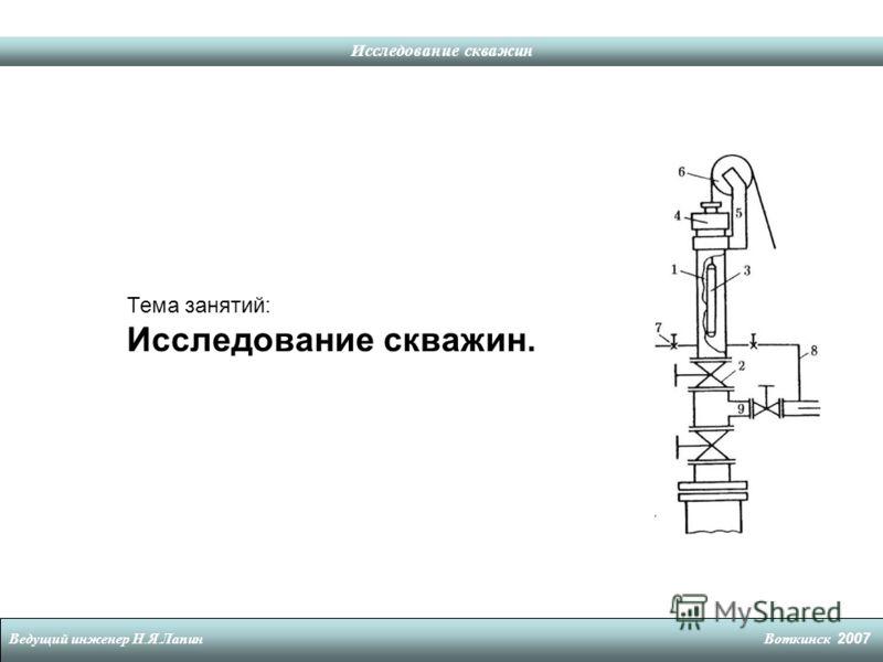 Исследование скважин Ведущий инженер Н. Я. Лапин Воткинск 2007 Тема занятий: Исследование скважин.