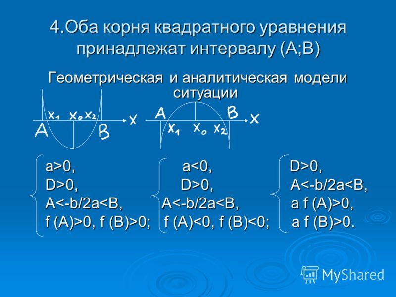 4.Оба корня квадратного уравнения принадлежат интервалу (А;B) Геометрическая и аналитическая модели ситуации а>0, a 0, а>0, a 0, D>0, D>0, A 0, D>0, A0; f (A) 0. f (A)>0, f (B)>0; f (A) 0.