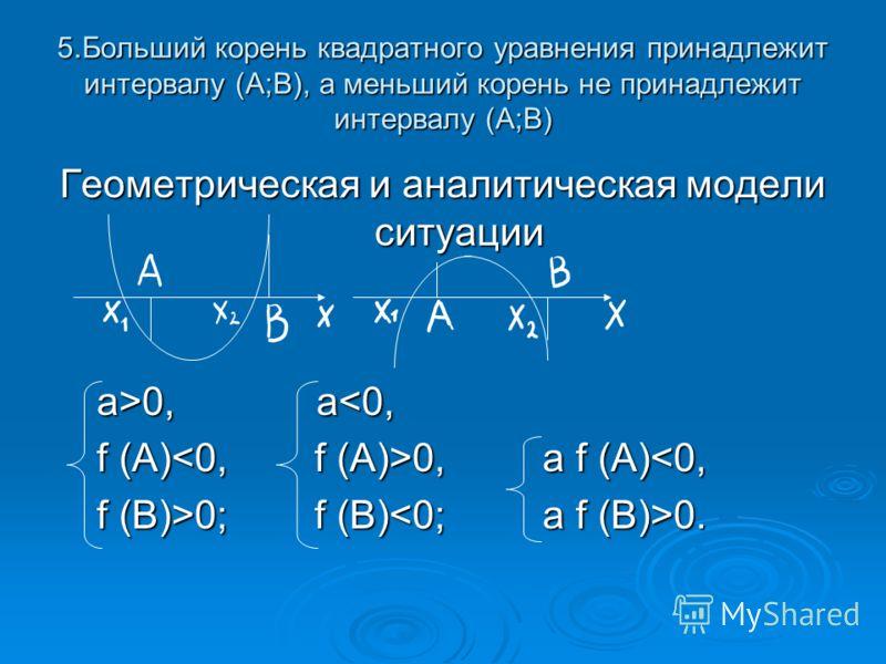 5.Больший корень квадратного уравнения принадлежит интервалу (А;В), а меньший корень не принадлежит интервалу (А;В) Геометрическая и аналитическая модели ситуации a>0, а 0, а0; f (B) 0.