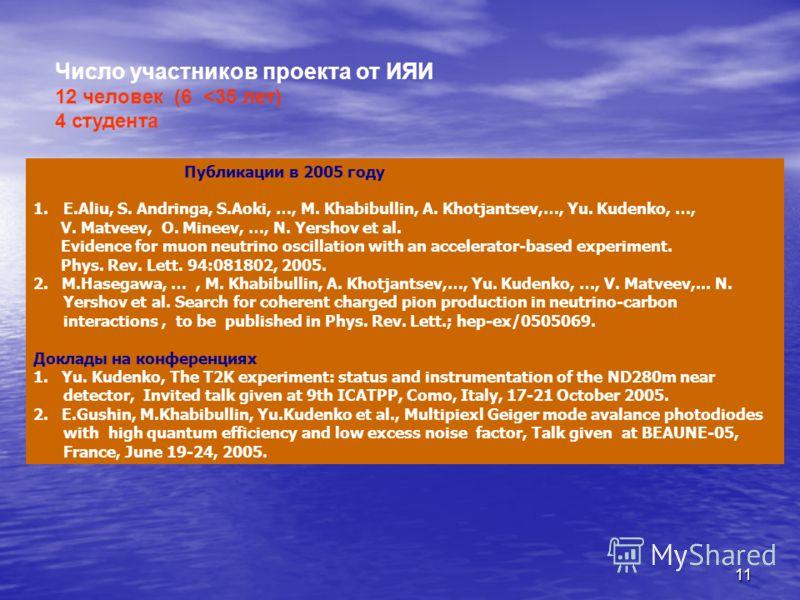 11 Число участников проекта от ИЯИ 12 человек (6