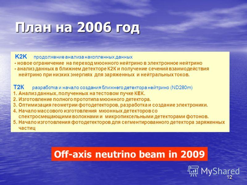 12 План на 2006 год K2K продолжение анализа накопленных данных. - новое ограничение на переход мюонного нейтрино в электронное нейтрино - анализ данных в ближнем детекторе К2К и получение сечений взаимодействия нейтрино при низких энергиях для заряже
