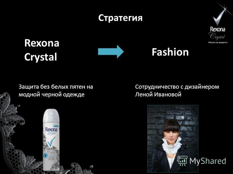 Стратегия Rexona Crystal Fashion Сотрудничество с дизайнером Леной Ивановой Защита без белых пятен на модной черной одежде