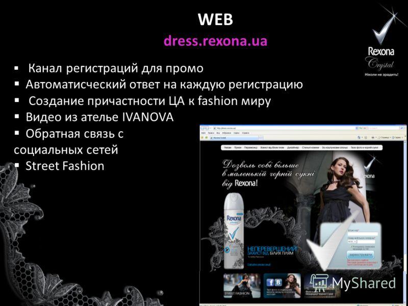 WEB dress.rexona.ua Канал регистраций для промо Автоматисческий ответ на каждую регистрацию Создание причастности ЦА к fashion миру Видео из ателье IVANOVA Обратная связь с социальных сетей Street Fashion