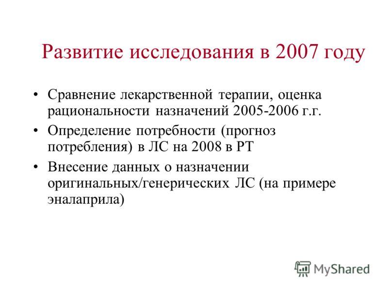 Развитие исследования в 2007 году Сравнение лекарственной терапии, оценка рациональности назначений 2005-2006 г.г. Определение потребности (прогноз потребления) в ЛС на 2008 в РТ Внесение данных о назначении оригинальных/генерических ЛС (на примере э