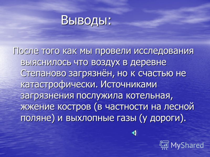 Выводы: После того как мы провели исследования выяснилось что воздух в деревне Степаново загрязнён, но к счастью не катастрофически. Источниками загрязнения послужила котельная, жжение костров (в частности на лесной поляне) и выхлопные газы (у дороги