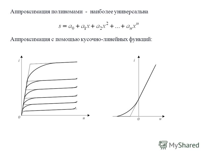 Аппроксимация полиномами - наиболее универсальна Аппроксимация с помощью кусочно-линейных функций: