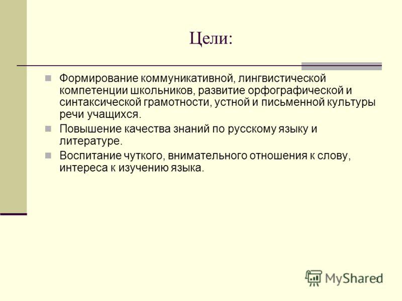 3 Цели: Формирование коммуникативной, лингвистической компетенции школьников, развитие орфографической и синтаксической грамотности, устной и письменной культуры речи учащихся. Повышение качества знаний по русскому языку и литературе. Воспитание чутк