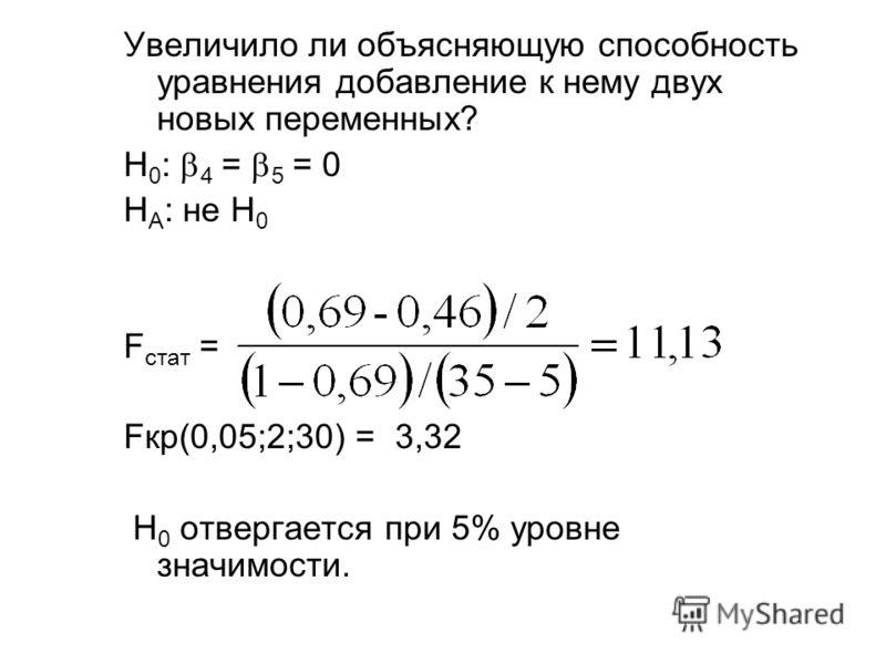 Увеличило ли объясняющую способность уравнения добавление к нему двух новых переменных? H 0 : 4 = 5 = 0 H A : не H 0 F стат = Fкр(0,05;2;30) = 3,32 H 0 отвергается при 5% уровне значимости.