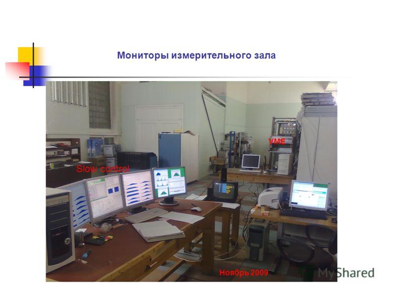 Мониторы измерительного зала VME Ноябрь 2009 Slow control