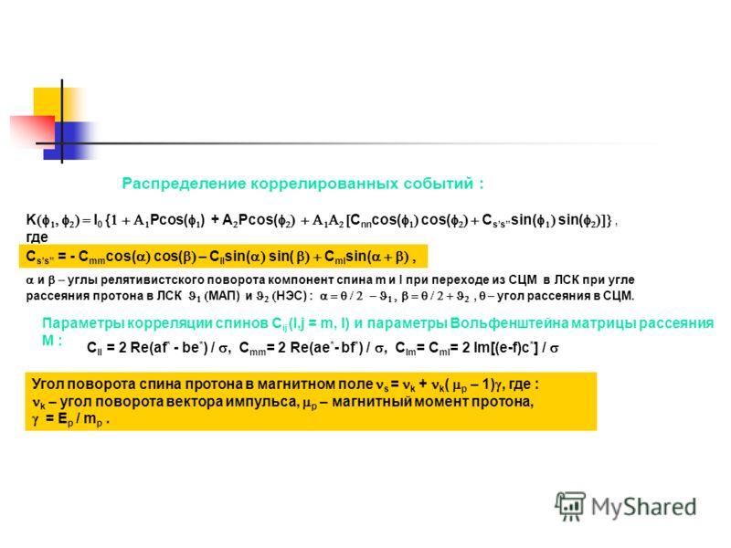 Распределение коррелированных событий : K I 0 { Pcos( ) + A Pcos( C nn cos( cos( C ss sin( sin(, где C ss = - C mm cos( cos( – C ll sin( sin( C ml sin( и углы релятивистского поворота компонент спина m и l при переходе из СЦМ в ЛСК при угле рассеяния