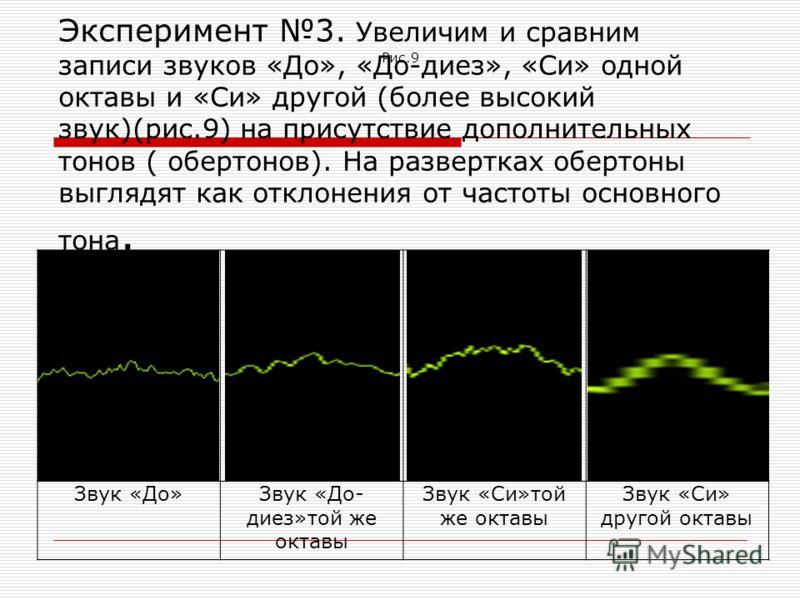 Эксперимент 3. Увеличим и сравним записи звуков «До», «До-диез», «Си» одной октавы и «Си» другой (более высокий звук)(рис.9) на присутствие дополнительных тонов ( обертонов). На развертках обертоны выглядят как отклонения от частоты основного тона. З