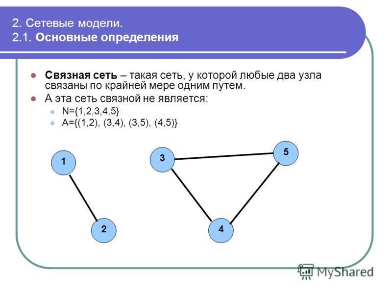2. Сетевые модели. 2.1. Основные определения Связная сеть – такая сеть, у которой любые два узла связаны по крайней мере одним путем. А эта сеть связной не является: N={1,2,3,4,5} A={(1,2), (3,4), (3,5), (4,5)} 12345
