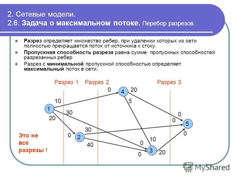 2. Сетевые модели. 2.6. Задача о максимальном потоке. Перебор разрезов. Разрез определяет множество ребер, при удалении которых из сети полностью прекращается поток от источника к стоку. Пропускная способность разреза равна сумме пропускных способнос