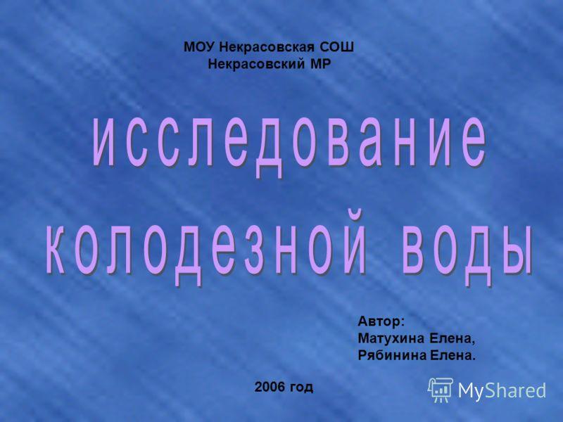 МОУ Некрасовская СОШ Некрасовский МР Автор: Матухина Елена, Рябинина Елена. 2006 год