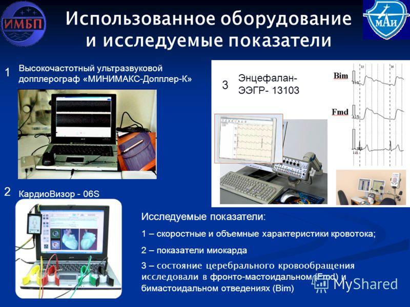 Использованное оборудование и исследуемые показатели КардиоВизор - 06S Высокочастотный ультразвуковой допплерограф «МИНИМАКС-Допплер-К» Энцефалан- ЭЭГР- 13103 1 2 3 Исследуемые показатели: 1 – скоростные и объемные характеристики кровотока; 2 – показ