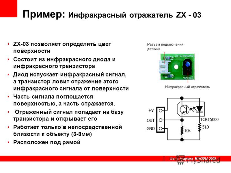Пример: Инфракрасный отражатель ZX - 03 ZX-03 позволяет определить цвет поверхности Состоит из инфракрасного диода и инфракрасного транзистора Диод испускает инфракрасный сигнал, а транзистор ловит отражение этого инфракрасного сигнала от поверхности