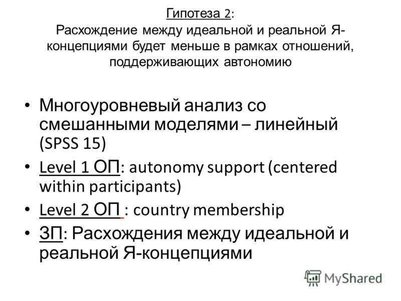 Гипотеза 2: Расхождение между идеальной и реальной Я- концепциями будет меньше в рамках отношений, поддерживающих автономию Многоуровневый анализ со смешанными моделями – линейный (SPSS 15) Level 1 ОП : autonomy support (centered within participants)