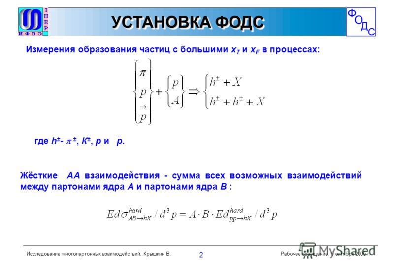 ОБРАЗЕЦОБРАЗЕЦ Исследование многопартонных взаимодействий, Крышкин В.Рабочее совещание, 5 октября 2005 г. 2 УСТАНОВКА ФОДС Измерения образования частиц с большими х Т и х F в процессах: где h ± - ±, К ±, р и р. Жёсткие АА взаимодействия - сумма всех