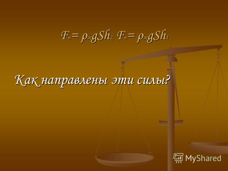 F н = ρ ж gSh 2, F н = ρ ж gSh 1 Как направлены эти силы?