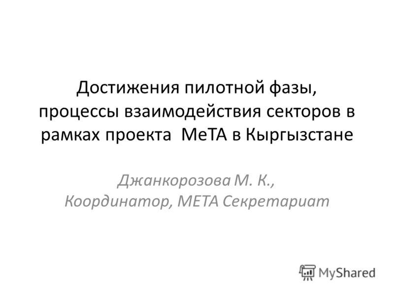 Достижения пилотной фазы, процессы взаимодействия секторов в рамках проекта МеТА в Кыргызстане Джанкорозова М. К., Координатор, МЕТА Секретариат