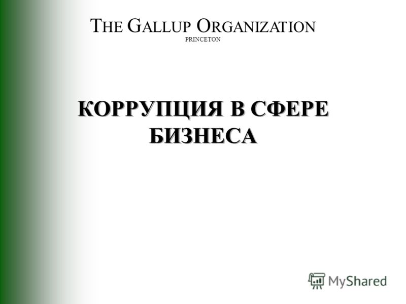 T HE G ALLUP O RGANIZATION PRINCETON КОРРУПЦИЯ В СФЕРЕ БИЗНЕСА