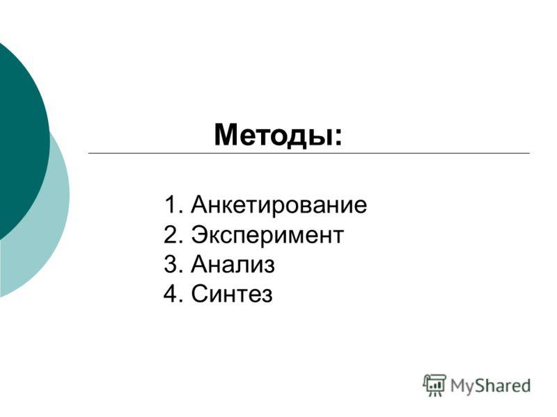 Методы: 1. Анкетирование 2. Эксперимент 3. Анализ 4. Синтез
