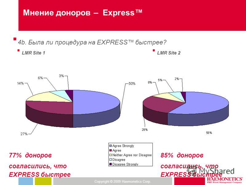 Copyright © 2009 Haemonetics Corp. Мнение доноров – Express 4b. Была ли процедура на EXPRESS быстрее? LMR Site 1 LMR Site 2 77% доноров согласились, что EXPRESS быстрее 85% доноров согласились, что EXPRESS быстрее