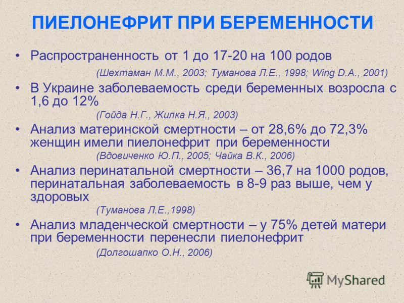 ПИЕЛОНЕФРИТ ПРИ БЕРЕМЕННОСТИ Распространенность от 1 до 17-20 на 100 родов (Шехтаман М.М., 2003; Туманова Л.Е., 1998; Wing D.A., 2001) В Украине заболеваемость среди беременных возросла с 1,6 до 12% (Гойда Н.Г., Жилка Н.Я., 2003) Анализ материнской с