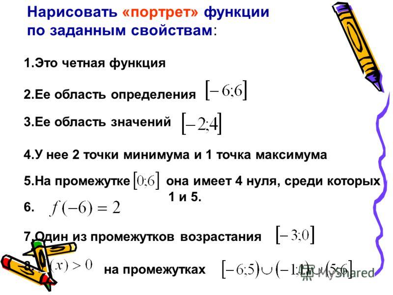 1.Это четная функция 2.Ее область определения 3.Ее область значений 4.У нее 2 точки минимума и 1 точка максимума 5.На промежутке она имеет 4 нуля, среди которых 1 и 5. 6. 7.Один из промежутков возрастания 8. на промежутках Нарисовать «портрет» функци