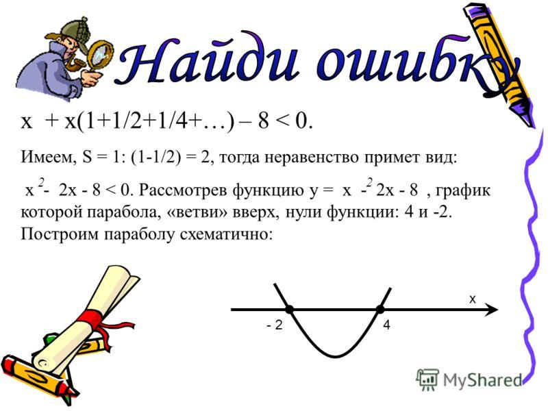 х + х(1+1/2+1/4+…) – 8 < 0. Имеем, S = 1: (1-1/2) = 2, тогда неравенство примет вид: х - 2х - 8 < 0. Рассмотрев функцию у = х - 2х - 8, график которой парабола, «ветви» вверх, нули функции: 4 и -2. Построим параболу схематично: 22 - 24 x