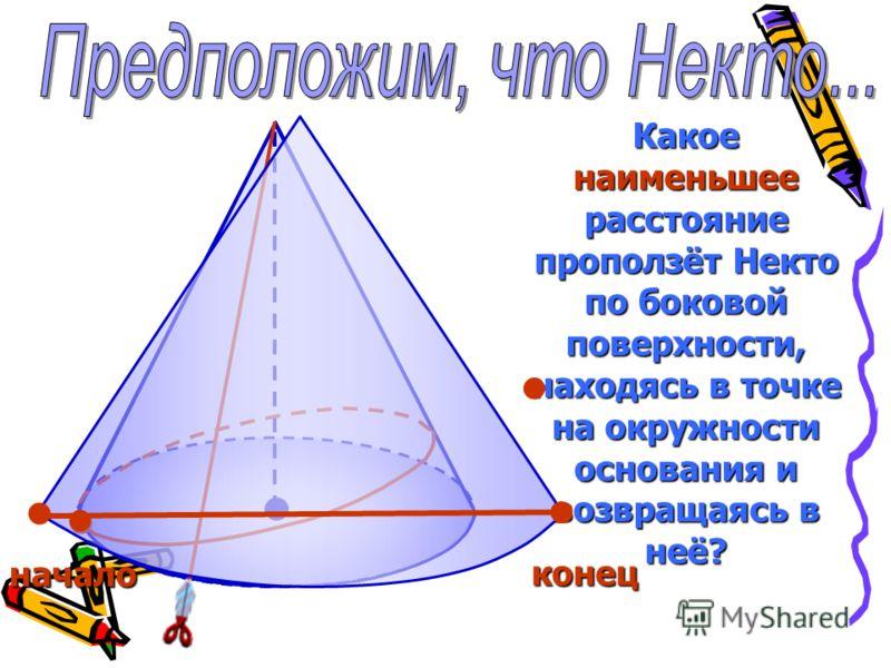Какое наименьшее расстояние проползёт Некто по боковой поверхности, находясь в точке на окружности основания и возвращаясь в неё? начало конец