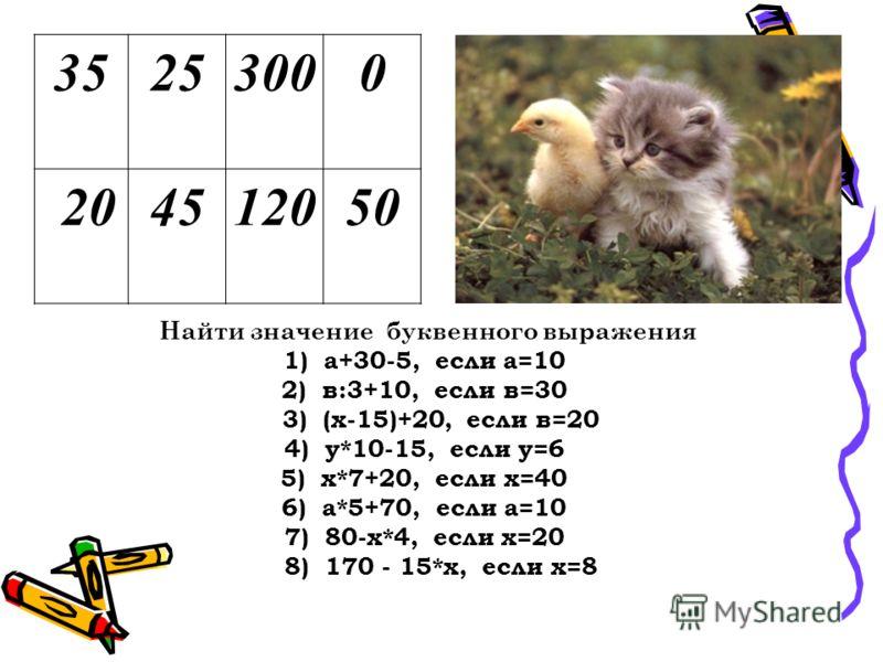 35253000 204512050 Найти значение буквенного выражения 1) а+30-5, если а=10 2) в:3+10, если в=30 3) (х-15)+20, если в=20 4) у*10-15, если у=6 5) х*7+20, если х=40 6) а*5+70, если а=10 7) 80-х*4, если х=20 8) 170 - 15*х, если х=8