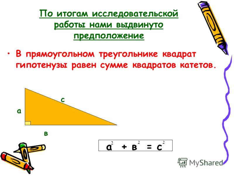 По итогам исследовательской работы нами выдвинуто предположение В прямоугольном треугольнике квадрат гипотенузы равен сумме квадратов катетов. с а в а + в = с