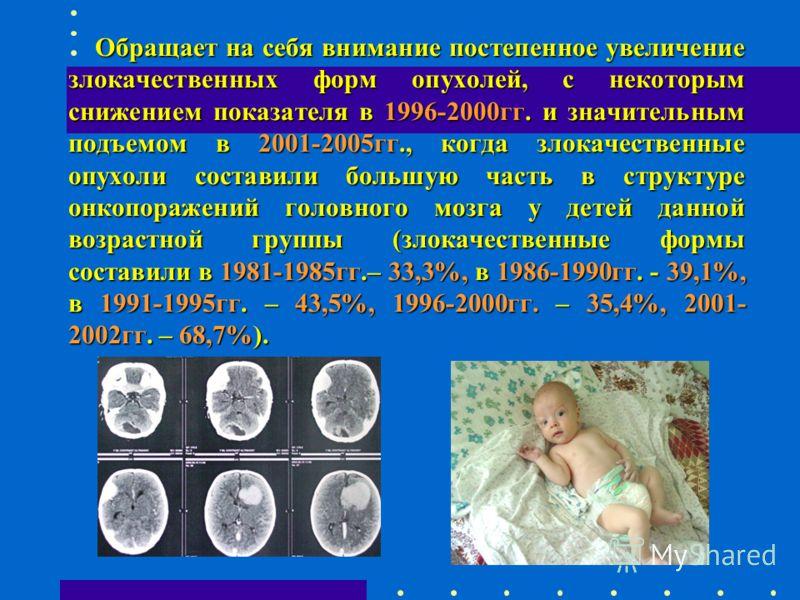 Обращает на себя внимание постепенное увеличение злокачественных форм опухолей, с некоторым снижением показателя в 1996-2000гг. и значительным подъемом в 2001-2005гг., когда злокачественные опухоли составили большую часть в структуре онкопоражений го