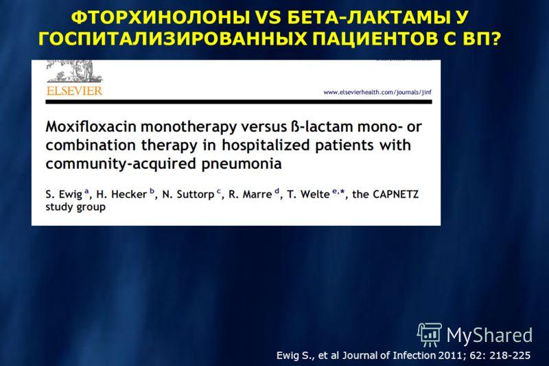 Ewig S., et al Journal of Infection 2011; 62: 218-225 ФТОРХИНОЛОНЫ VS БЕТА-ЛАКТАМЫ У ГОСПИТАЛИЗИРОВАННЫХ ПАЦИЕНТОВ С ВП?