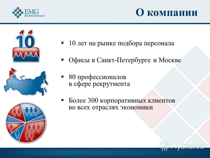 О компании 10 лет на рынке подбора персонала Офисы в Санкт-Петербурге и Москве 80 профессионалов в сфере рекрутмента Более 300 корпоративных клиентов во всех отраслях экономики