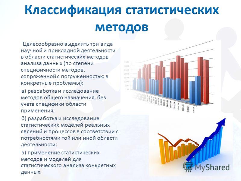 Целесообразно выделить три вида научной и прикладной деятельности в области статистических методов анализа данных (по степени специфичности методов, сопряженной с погруженностью в конкретные проблемы): а) разработка и исследование методов общего назн
